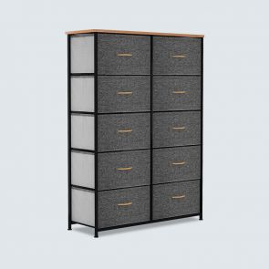 dark gray 10 drawer chest