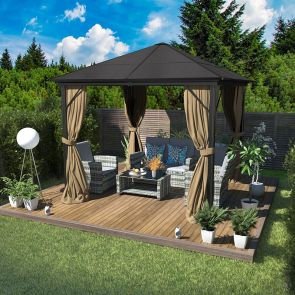 garden gazebo and outdoor sofa