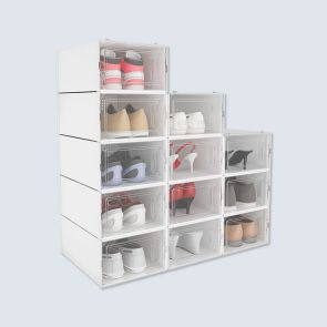new design plastic stackable shoe boxes