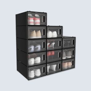 new design black plastic shoe box