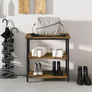 wood side table to store shoes