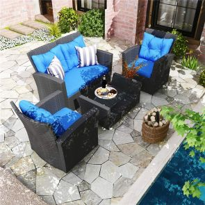 YITAHOME® 4 Piece Wicker Patio Sectional with Cushions and Table