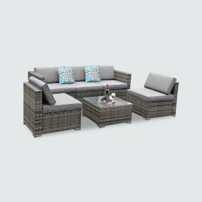 6 Piece Outdoor Sectional Patio Furniture Sets with Table and Cushions
