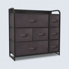 7 Drawer Chest with Wooden Top Brown