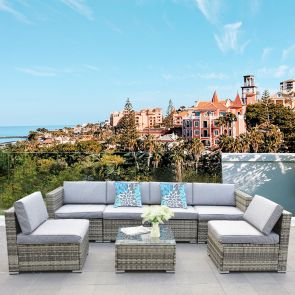 7 piece rattan sectional set with cushions for garden