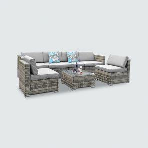 2021 7 piece rattan sectional set with cushions