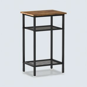 Bed Side Table with 2 Up-Down Mesh Shelves Rustic Brown