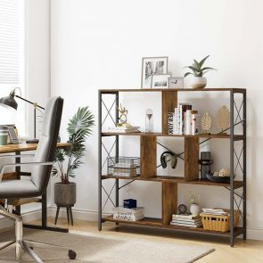YITAHOME® 4 Tier Modern Bookcase Open Storage Rustic Brown