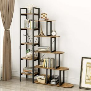 YITAHOME® L Shape Ladder Wooden bookcase Rustic Brown