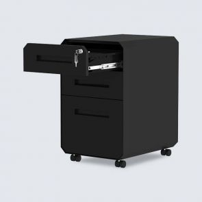 3 drawers black metal filing cabinet