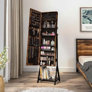 brown jewelry cabinet armoire in the bedroom