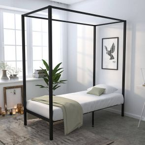 canopy twin size bed frame in the bedroom