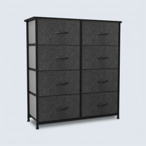8 Drawer Chest Fabric Dresser with Wooden Top Black