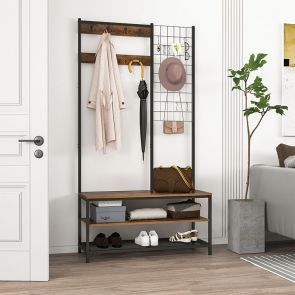 coat rack with storage in the room