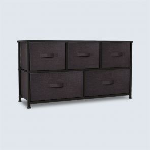 5 Drawer Fabric Storage Chest Brown