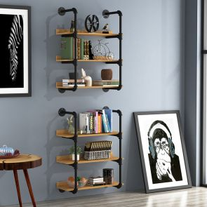 3 shelf bookcase on the wall