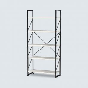 5 Shelf White Etagere Bookcase with Steel Frame