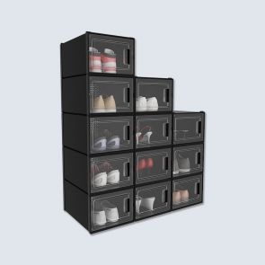 Medium Size 12 Pcs Transparent Shoe Storage Box Black