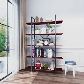 5 shelf cherry bookcase in the living room