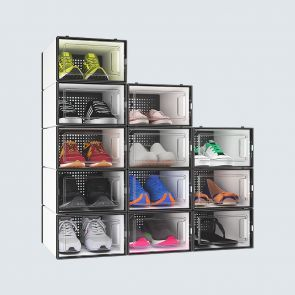 Small Size 12 Pcs Stackable Clear Shoe Boxes for Sale