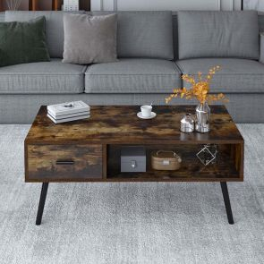 wood coffee table in the living room