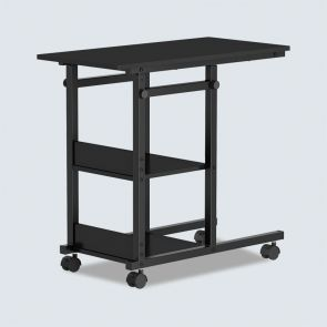 Small Outdoor Side Table with Adjustable Height and Wheels Black