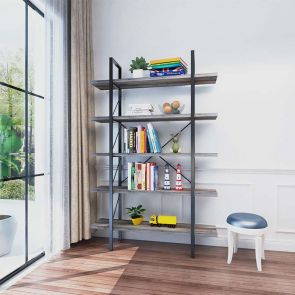 5 shelf bookcase in the room