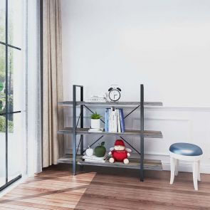 3 shelf bookcase in the room