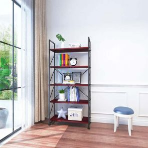 5 shelf bookcase in the living room