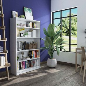 white bookcase in the room