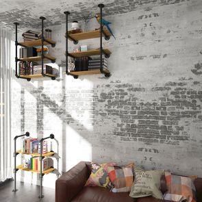open bookcase hanging on the roof