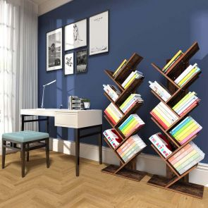 modern bookcase stores many books