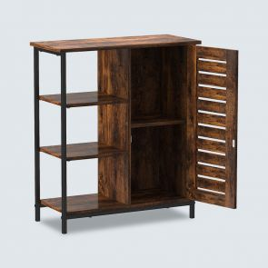 Wood File Cabinet Side Storage with 3 Open Shelves and Door