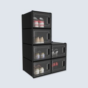 Big Size 6 Pcs Black Plastic Shoe Storage Box