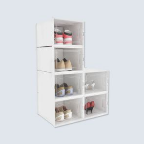 Big Size 6 Pcs Clear Stackable Plastic Shoe Boxes White