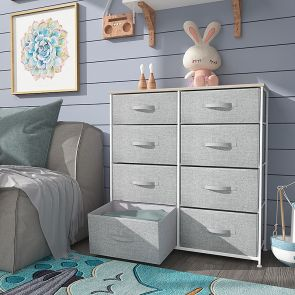 8 drawer fabric dresser in the bedroom