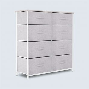 8 Drawer Fabric Dresser Storage Tower Wooden Top Light Gray