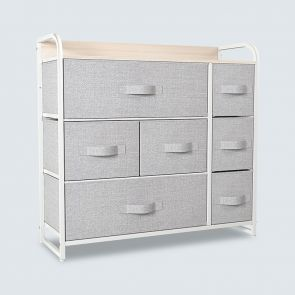 7 drawer fabric dresser light gray