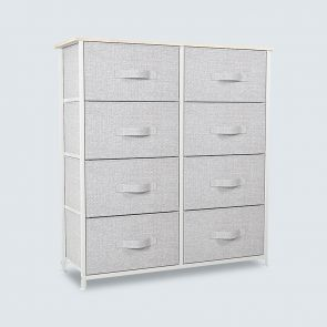 8 Drawer Chest with Wooden Top Light Gray