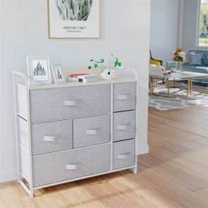 7 drawer fabric dresser in the bedroom