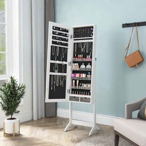 mirror jewelry armoire in the bedroom