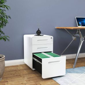 3 drawer mobile file cabinet in the bedroom