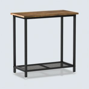 Modern Side Table with 2 Separated Mesh Shelves Rustic Brown