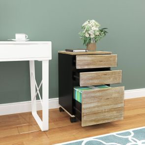 three drawer file cabinet wood in the room