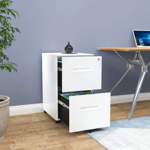 2 drawers white filing cabinet in office