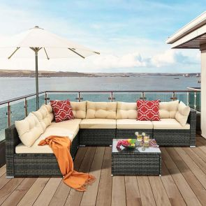 outdoor sectional in the deck