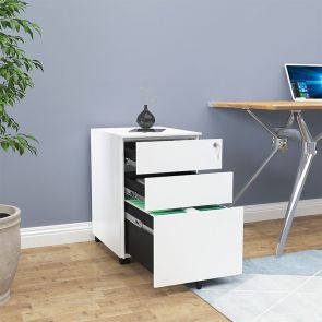 white filing cabinet in office