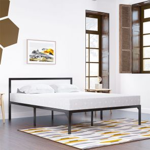 queen size bed frame with headboard in the bedroom