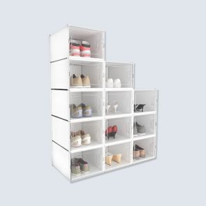 Big Size 12 Pcs Transparent Shoe Box White