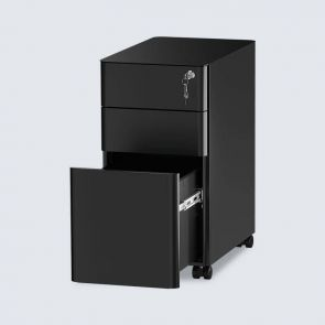 black 3 drawer slim portable file cabinet